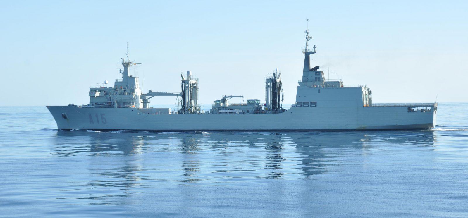 RAS(L) between HMAS Parramatta and SPS Cantabria in the Timor Sea.